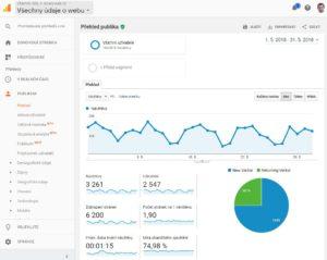 Ukázka vzhledu Google Analytics.