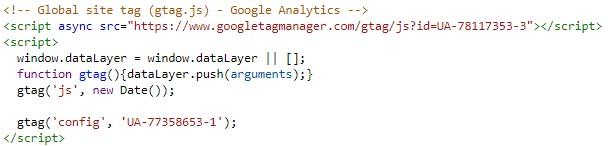 GA tracker v nejnovější verzi. Občas na webu najdeš i starší verze s analytics.js a ga.js