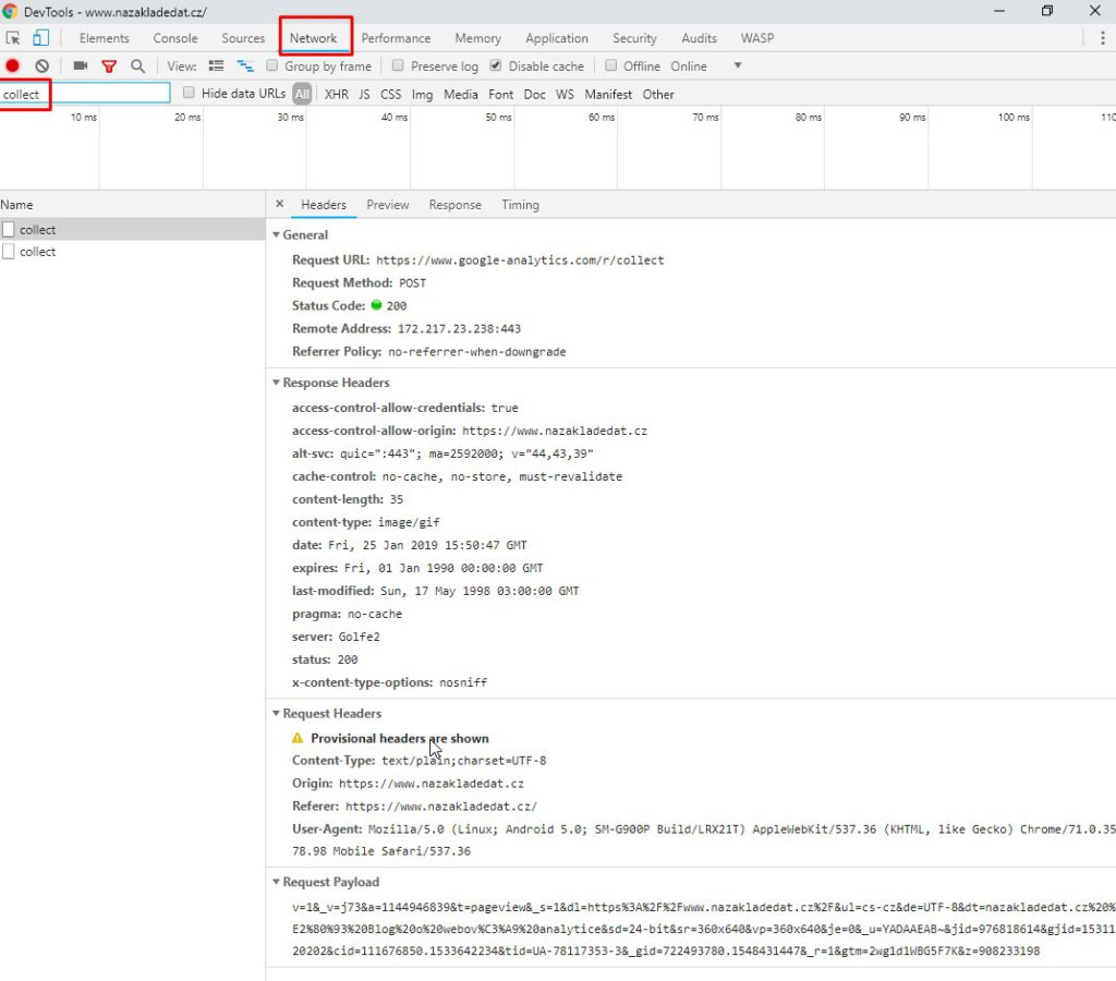 Hit do GA v DevTools prohlížeče Chrome